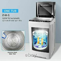 2 IN 1 Auto Washing Machine 26lbs Compact Portable Laundry Washer Spin Dryer Pro