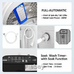 2-IN-1 Full-Auto Washing Machine 14lbs Compact Portable Washer Shock Absorption