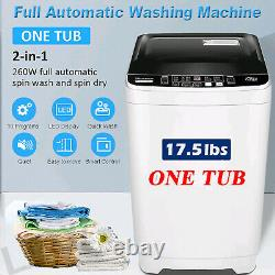 2 IN 1 Full-Auto Washing Machine 18lbs Compact Portable Washer Shock Absorption