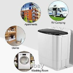 21.5LBS Mini Washing Machine Compact Twin Tub Laundry with Drain Pump Spiner Dryer