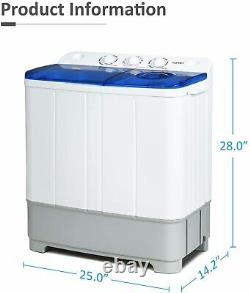 21lbs Portable Washing Machine Twin Tub with Drain Pump Compact Spin Dryer Combo