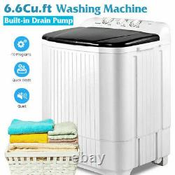 22LBS Compact Top Load Washing Machine Portable 2 Tubs Laundry Washer Spiner