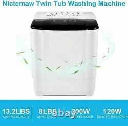22LBS Compact Top Load Washing Machine Portable 2 Tubs Laundry Washer Spiner US