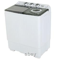 26 LBS Compact Washing Machine Twin Tub with Drain Pump Mini Laundry Spiner Dryer