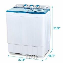 26 LBS Mini Washing Machine Compact Twin Tub Laundry Spiner Dryer with Drain Pump