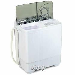 26 LBS Portable Washing Machine Compact Twin Tub Laundry Spin Dryer withDrain Pump
