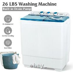 26 LBS Twin Tub Mini Washing Machine Compact Laundry Spinner Dryer with Drain Pump
