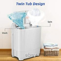 26LBS Compact Portable Washing Machine Twin Tub Drain Pump Spiner Dryer Washer