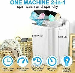 26LBS Compact Portable Washing Machine Twin Tub Spiner Laundry Washer Dryer Set
