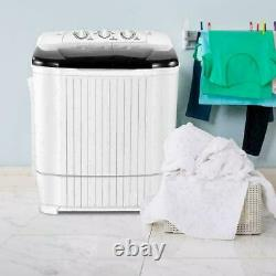 26LBS Compact Portable Washing Machine Twin Tub with Drain Pump Spiner Dryer US