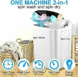 26LBS Compact Portable Washing Machine Twin Tubs Drain Pump Spiner Dryer Washer