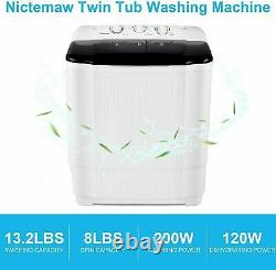 26LBS Compact Portable Washing Machine Twin Tubs Laundry Washer and Dryer 2 IN 1