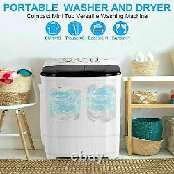 26LBS Compact Portable Washing Machine Twin Tubs Spiner Laundry Washer and Dryer