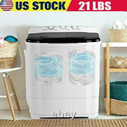 26LBS Compact Washing Machine Auto Portable 2 Tubs Laundry Washer Dryer for Home