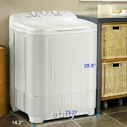 26LBS Compact Washing Machine Twin Tubs 2-IN-1 Top-Load Laundry Washer Dryer