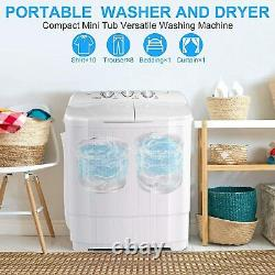 26LBS Compact Washing Machine Twin Tubs 2-IN-1 Top Load Laundry Washer Dryer