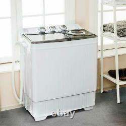 26LBS Portable Mini Compact Twin Tub Washing Machine withWasher and Spinner Cycle