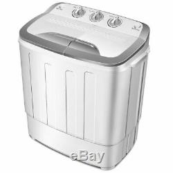 Compact Mini Twin Tub 13lbs Washing Machine Washer Spin Spinner Gray & White New
