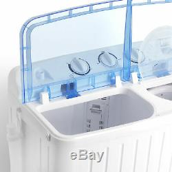 Compact Washing Machine Top Load Twin Tub Laundry Spin Dryer Washer 17.6 lbs
