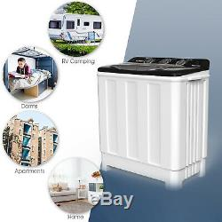 Compact Washing Machine Twin Tub Portable Washer Spinner Dryer Laundry 24LBS