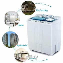 Compact Washing Machine Twin Tub Portable with Drain Pump Washer&Dryer Laundry
