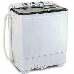 Mini Washing Machine Compact Twin Tub Laundry Spinner Dryer with Drain Pump 26 LBS