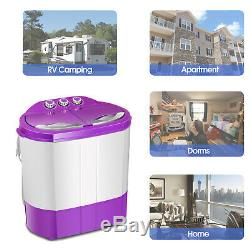 Portable 9.9LBS Washing Machine Mini Compact Twin Tub Laundry Washer Spin Dryer
