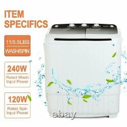 Portable Compact Washing Machine Twin Tub Laundry Washer Spiner Dryer BLK 17LBS