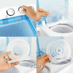 Portable Mini Compact Twin Tub Washing Machine 17.6lbs Washer with Wash and Spin