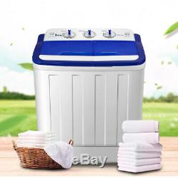 Portable Mini Washing Machine Compact Twin Tub 11lb Washer Spin & Dryer White