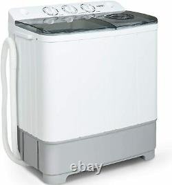 Portable Washing Machine Twin Tub Compact Spin Dryer Combo 21lbs White&Grey