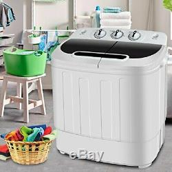 SUPER DEAL Portable Compact Mini Twin Tub Washing Machine withWash and Spin Cyc