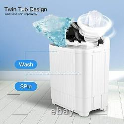 Washing Machine 21.5 LBS Twin Tub Spiner Dryer Compact Portable Laundry Washer